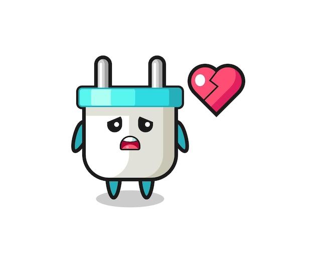 L'illustration de dessin animé de prise électrique est le coeur brisé