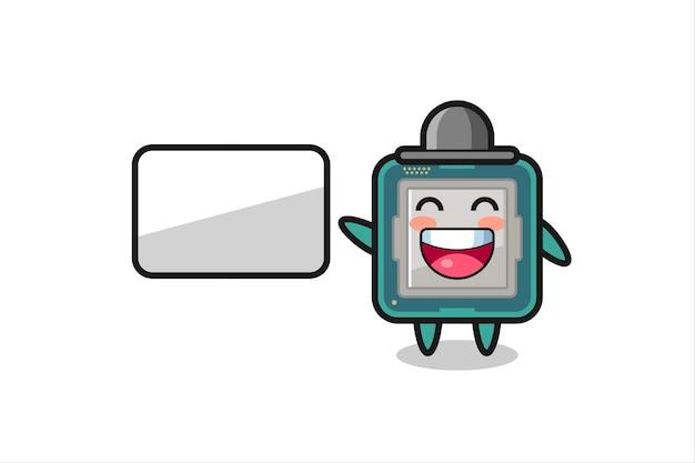 Illustration de dessin animé de processeur faisant une présentation, conception de style mignon pour t-shirt, autocollant, élément de logo