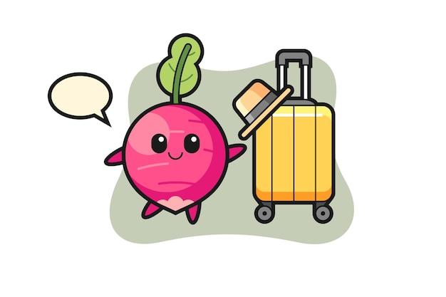 Illustration de dessin animé de radis avec bagages en vacances, design de style mignon pour t-shirt, autocollant, élément de logo