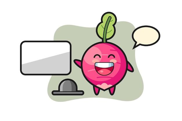 Illustration de dessin animé de radis faisant une présentation, design de style mignon pour t-shirt, autocollant, élément de logo