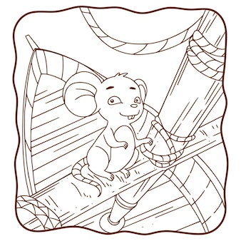 Illustration de dessin animé le rat est sur le livre ou la page du bateau pour les enfants en noir et blanc