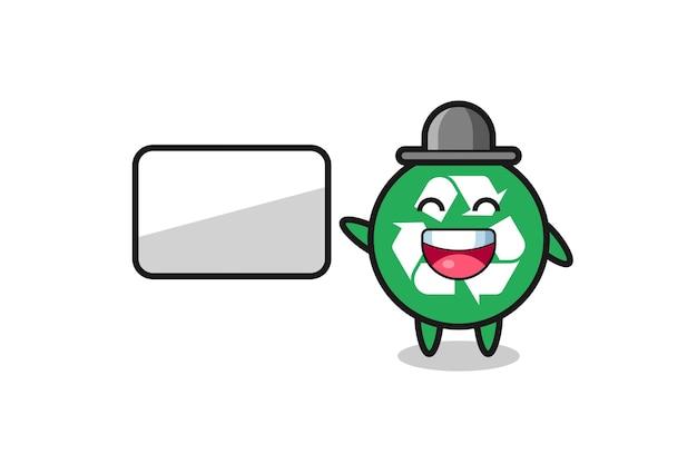 Illustration de dessin animé de recyclage faisant une présentation, design mignon
