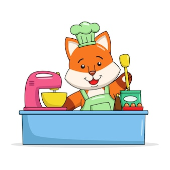 Illustration de dessin animé d'un renard mignon faisant un gâteau