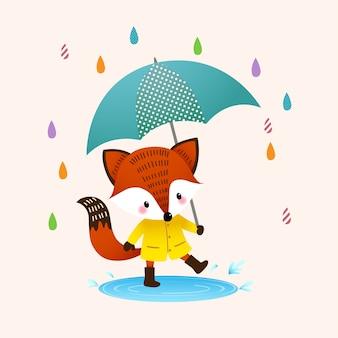 Illustration dessin animé renard roux en bottes brunes avec parapluie éclaboussant dans une flaque d'eau en jour de pluie.
