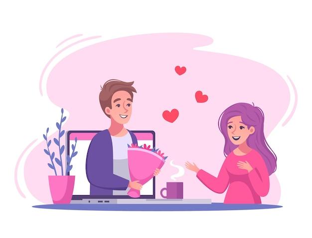 Illustration de dessin animé de rencontres en ligne de relations virtuelles