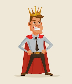 Illustration de dessin animé de roi homme d'affaires prospère