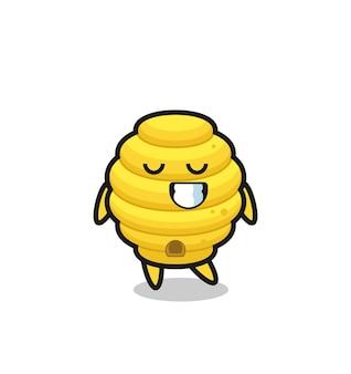 Illustration de dessin animé de ruche d'abeille avec une expression timide, design mignon