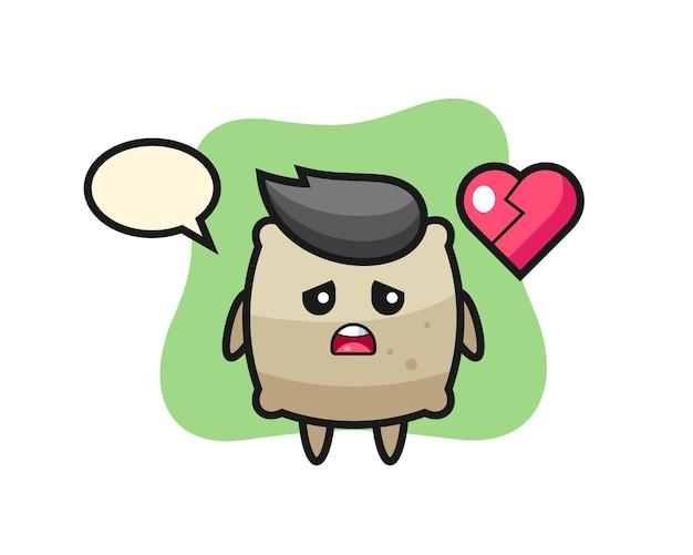 L'illustration de dessin animé de sac est un coeur brisé, un design de style mignon pour un t-shirt, un autocollant, un élément de logo