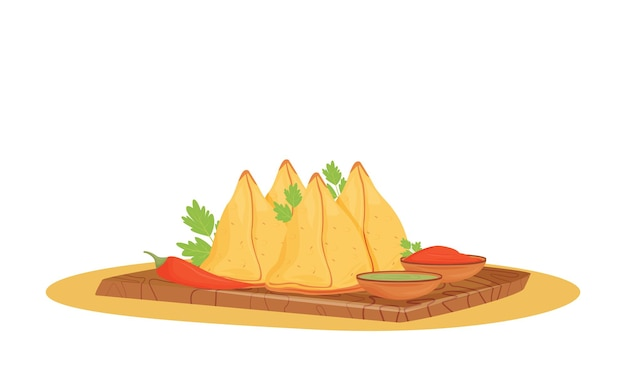 Illustration de dessin animé de samosas