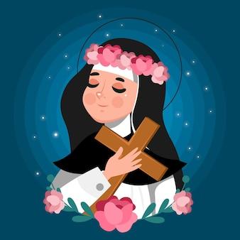 Illustration de dessin animé de santa rosa de lima