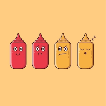 Illustration de dessin animé de sauces