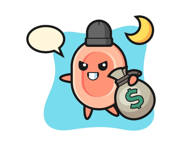 Illustration de dessin animé de savon est volé l'argent, style mignon pour t-shirt, autocollant, élément de logo