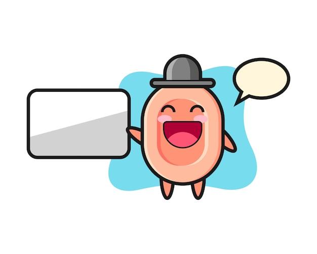 Illustration de dessin animé de savon faisant une présentation, style mignon pour t-shirt, autocollant, élément de logo