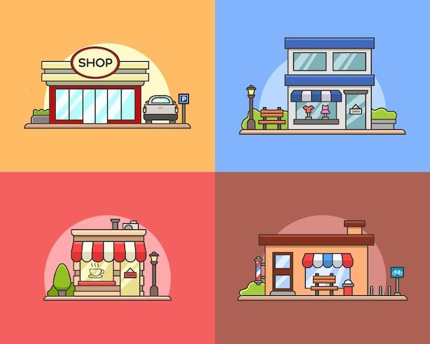 Illustration de dessin animé simple devanture de magasin