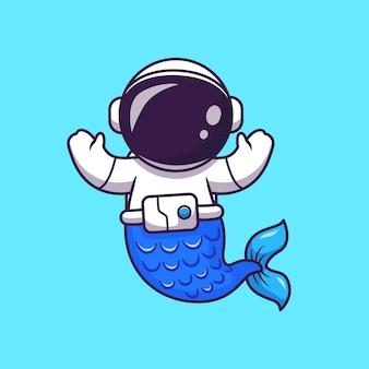 Illustration de dessin animé de sirène d'astronaute. science nature concept isolé. style de dessin animé plat