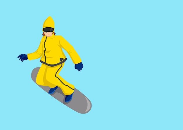 Illustration de dessin animé d'un snowboarder