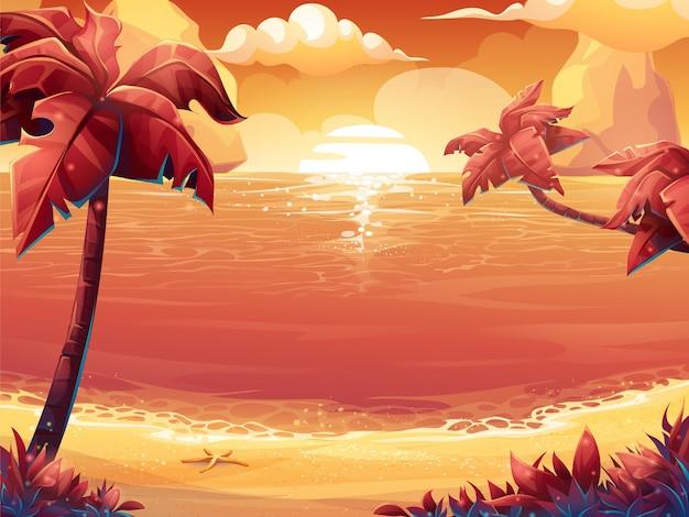 Illustration de dessin animé d'un soleil cramoisi, lever ou coucher de soleil sur la mer avec des palmiers.