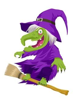 Illustration de dessin animé d'une sorcière volant avec son balai