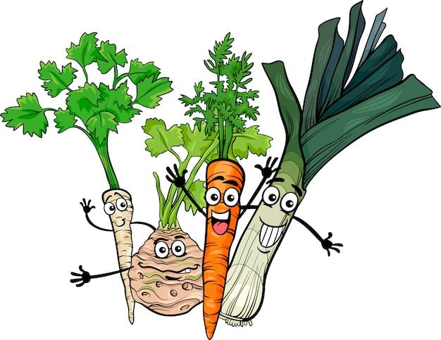 Illustration de dessin animé de soupe légumes groupe
