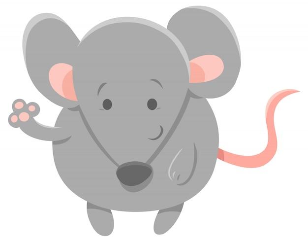 Illustration de dessin animé de souris grise mignonne