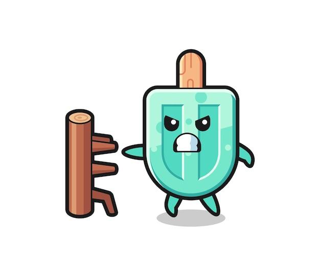 Illustration de dessin animé de sucettes glacées en tant que combattant de karaté, design mignon