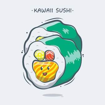 Illustration de dessin animé de sushi kawaii dessinés à la main