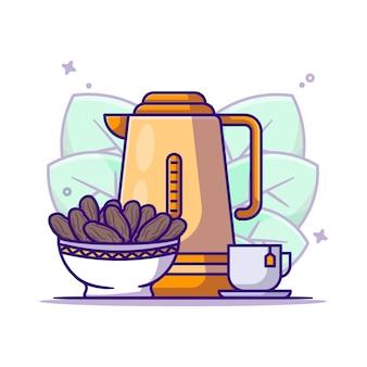 Illustration de dessin animé de thé et bol de dates