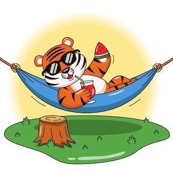 Illustration de dessin animé d'un tigre buvant du jus de fruit