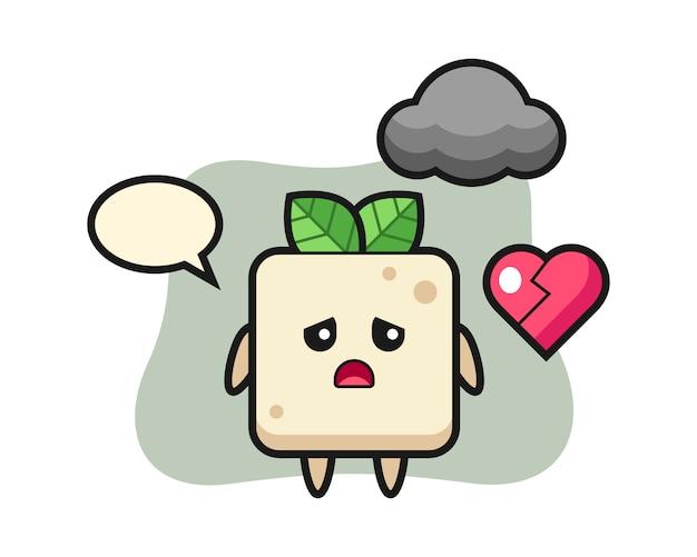 Illustration de dessin animé de tofu est un coeur brisé, conception de style mignon pour t-shirt