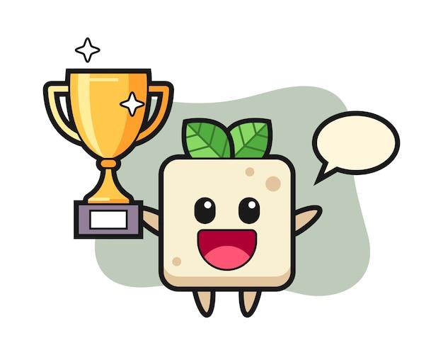 Illustration de dessin animé de tofu est heureuse de brandir le trophée d'or, conception de style mignon pour t-shirt