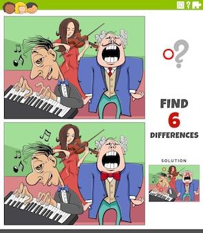 Illustration de dessin animé de trouver les différences entre les images jeu éducatif avec le groupe de musiciens