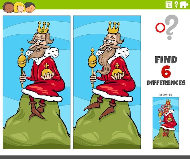 Illustration de dessin animé de trouver les différences entre les images jeu éducatif avec le roi de la colline disant ou proverbe