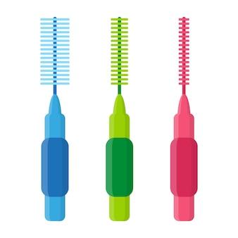 Illustration de dessin animé de vecteur de brosses interdentaires ou de fil dentaire pour le nettoyage des appareils dentaires isolés sur fond blanc.