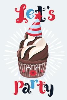 Illustration de dessin animé de vecteur de carte lets party. le petit gâteau au chocolat brun souhaite que le visage drôle et mignon essaie de vous embrasser et le texte de lettrage dessiné à la main.