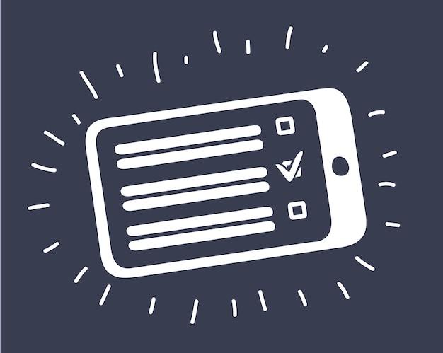 Illustration de dessin animé de vecteur de case à cocher de tablette, choix sur le vecteur de dessin animé de tablette numérique et illustration, style dessiné à la main, isolé sur fond noir.