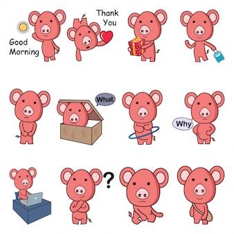 Illustration de dessin animé de vecteur de cochon mignon ensemble.