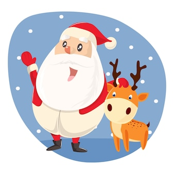 Illustration de dessin animé de vecteur cute santa avec le cerf.