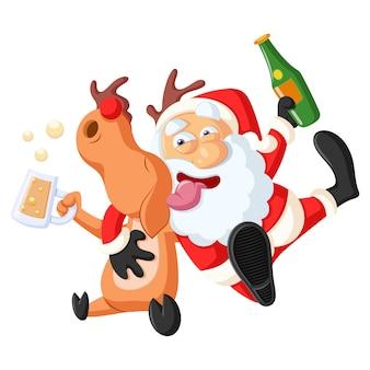 Illustration de dessin animé de vecteur cute santa tenant une bouteille de bière, cerf tenant une tasse de bière.