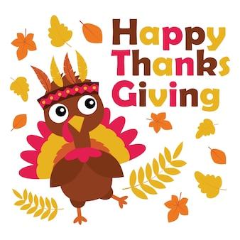 Illustration de dessin animé de vecteur avec dinde mignon est heureux le jour de thanksgiving adapté pour la conception de carte de thanksgiving heureux, tag de remerciement, et papier peint imprimable