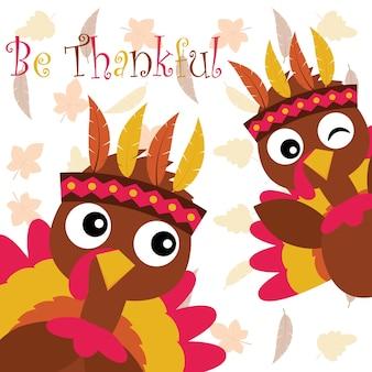 Illustration de dessin animé de vecteur avec dinde mignonne sur fond de feuilles d'érable adapté pour la conception de carte de thanksgiving heureux, tag de remerciement, et fond d'écran imprimable