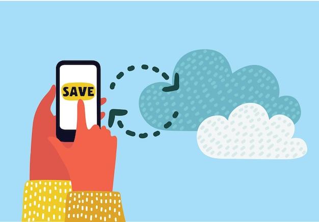 Illustration de dessin animé de vecteur du concept avec les mains des utilisateurs tenant les applications de smartphone et de synchronisation avec le service cloud. interface graphique. style coloré moderne.