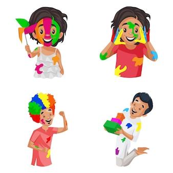 Illustration de dessin animé de vecteur du jeu de caractères holi