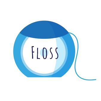 Illustration de dessin animé de vecteur de fil dentaire pour les soins bucco-dentaires isolé sur fond blanc.