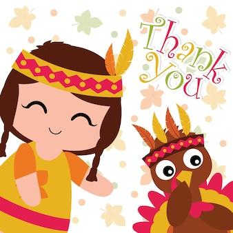 Illustration de dessin animé de vecteur avec fille indienne mignonne et dinde sur fond de feuilles d'érable adapté pour la conception de carte de thanksgiving heureux, tag de remerciement, et papier peint imprimable