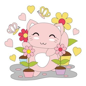 Illustration de dessin animé de vecteur avec la fille mignonne de chaton, et jardin de fleurs adapté pour enfant t-shirt design graphique, toile de fond et fond d'écran