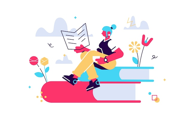 Illustration de dessin animé de vecteur de fille se trouve sur une pile de livres avec un livre ouvert dans ses mains