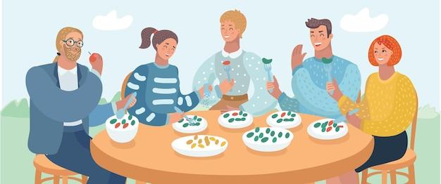 Illustration de dessin animé de vecteur d'un groupe de jeunes amis assis à une table dans un café et déjeunant en plein air.