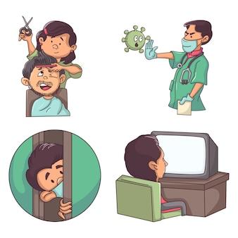 Illustration de dessin animé de vecteur de l'homme à la maison dans le verrouillage.