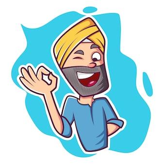 Illustration de dessin animé de vecteur de l'homme punjabi.