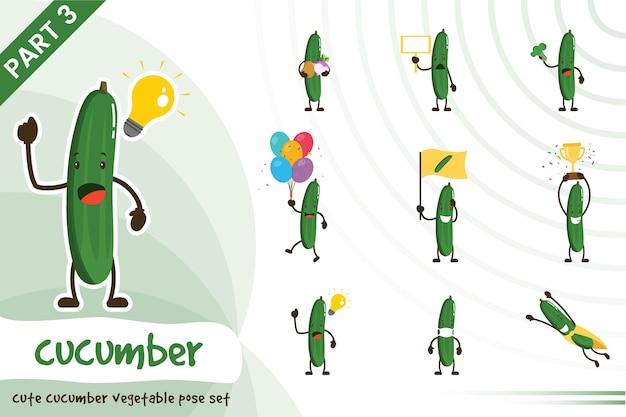 Illustration de dessin animé de vecteur de jeu de concombre mignon